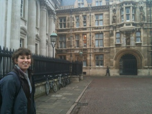 Amy Chalmers outside of University of Cambridge